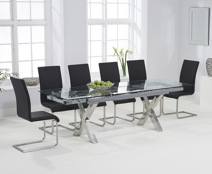 An image of Celeste 160cm Extending Glass Dining Table with Malaga Chairs