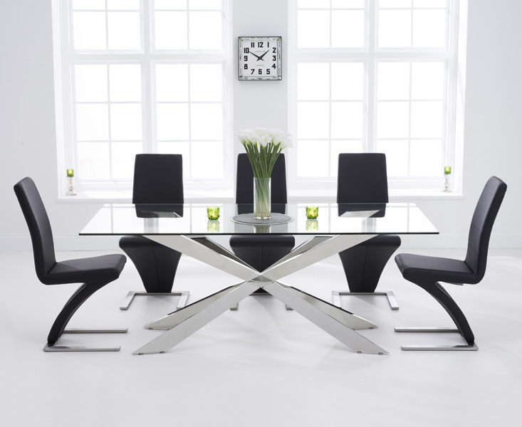 Product photograph showing Juniper 200cm Glass Dining Table With Hampstead Z Chairs - Black 6 Chairs