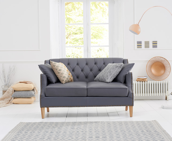 Photo of Charlotte chesterfield grey leather 2 seater sofa