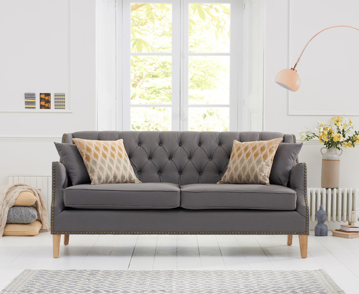 An image of Charlotte Chesterfield Grey Linen Fabric 3 Seater Sofa
