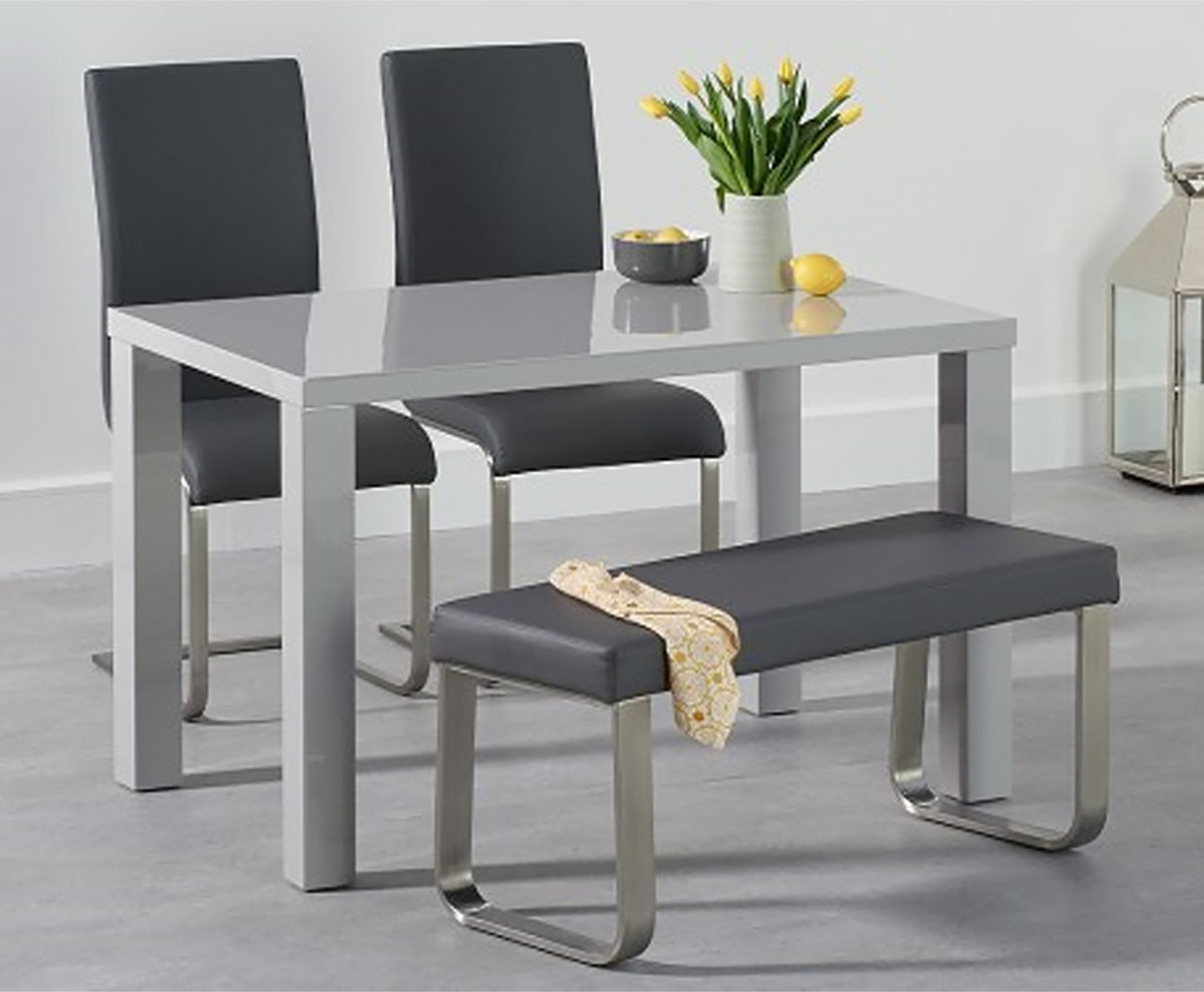 An image of Atlanta 120cm Light Grey High Gloss Dining Table with Malaga Chairs and Atlanta ...