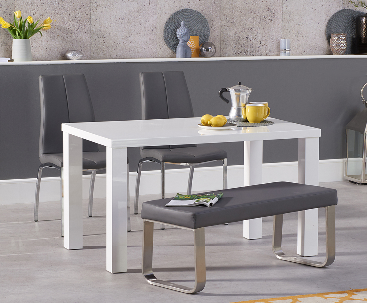 An image of Atlanta 120cm White High Gloss Dining Table with Cavello Chairs and Atlanta Grey...