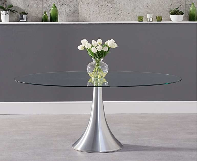 Product photograph showing Ex-display Paloma 180cm Oval Glass Table