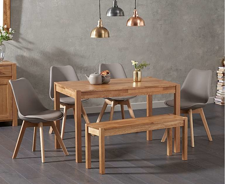 Product photograph showing Ex-display Oxford 150cm Solid Oak Dining Table With 2 Dark Grey Duke Faux Leather Chairs And Oxford Bench