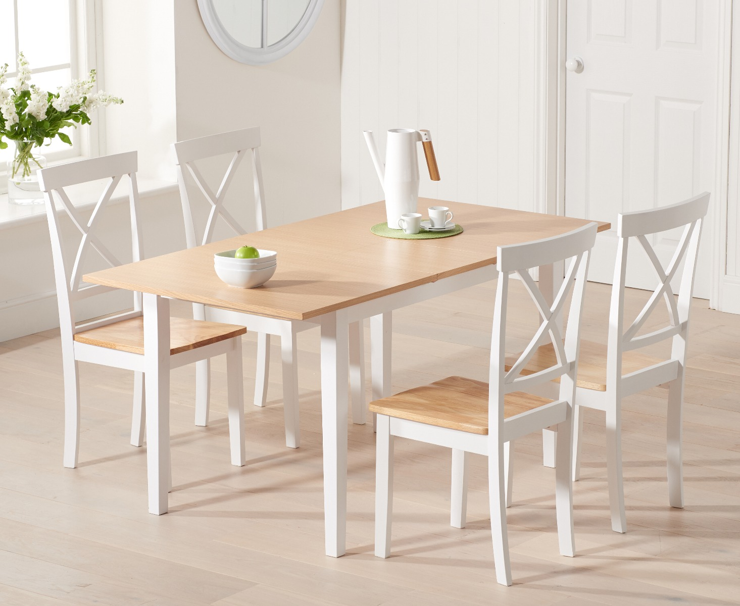 An image of Chiltern 120cm Extending White And Oak Table With Epsom Chairs