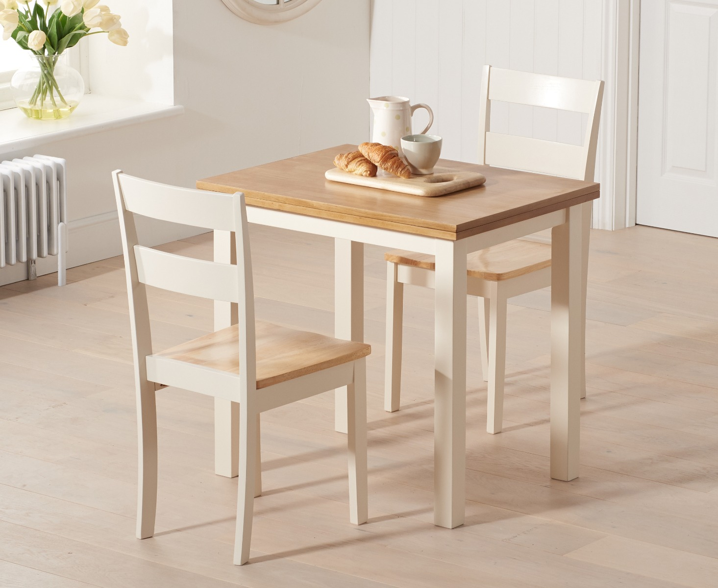 Product photograph showing Hastings Extending Cream And Oak Table With Chiltern Chairs - Cream 2 Chairs