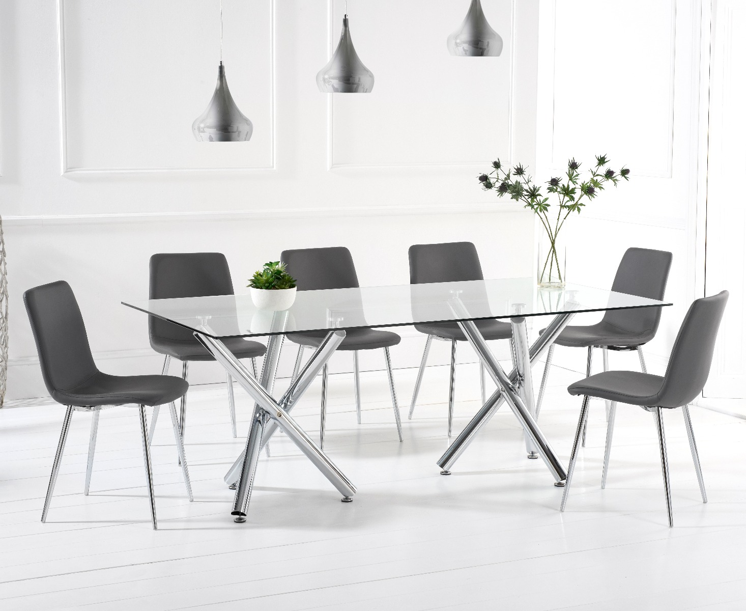 An image of Ella 200cm Dining Table With Helskini Faux Leather Chairs - White, 6 Chairs