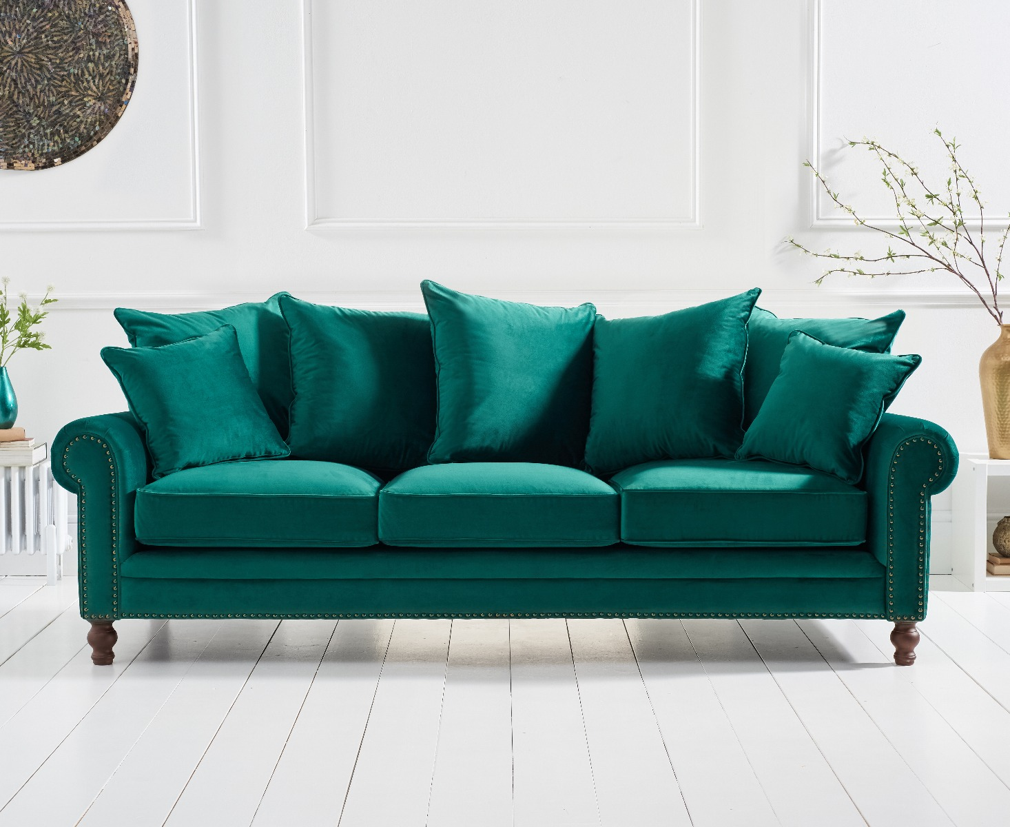 Product photograph showing Eliza Green Velvet 3 Seater Sofa
