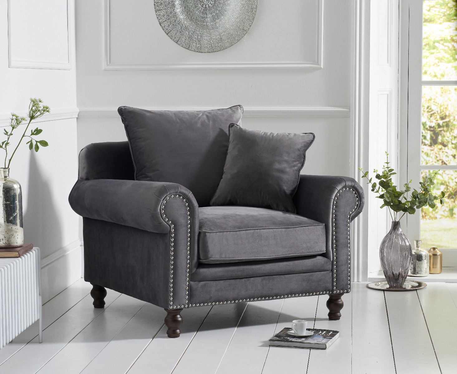 Product photograph showing Eliza Grey Velvet Armchair