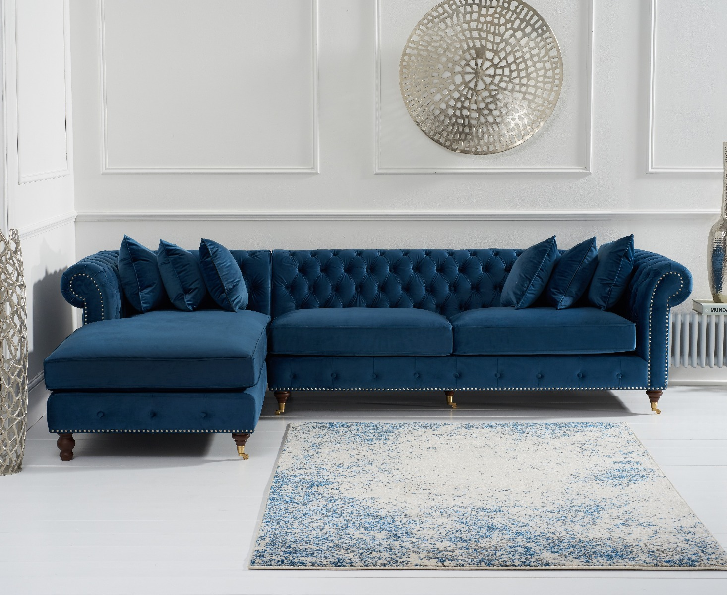 Product photograph showing Flora Blue Velvet Left Facing Chesterfield Chaise Sofa