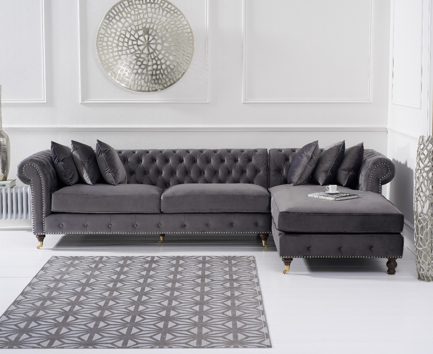 Product photograph showing Flora Grey Velvet Right Facing Chesterfield Chaise Sofa