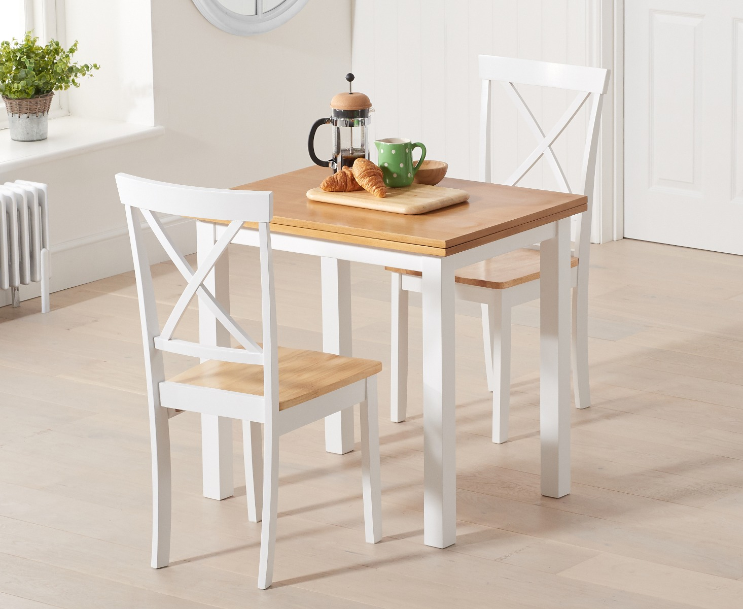 Product photograph showing Hastings Extending White And Oak Table With Epsom Chairs - Oak And White 2 Chairs