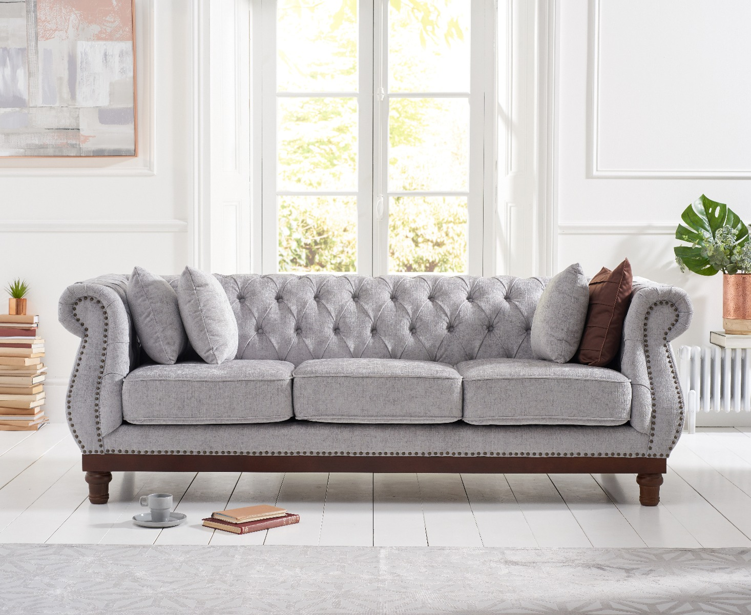 Product photograph showing Henbury Chesterfield Grey Plush 3 Seater Sofa