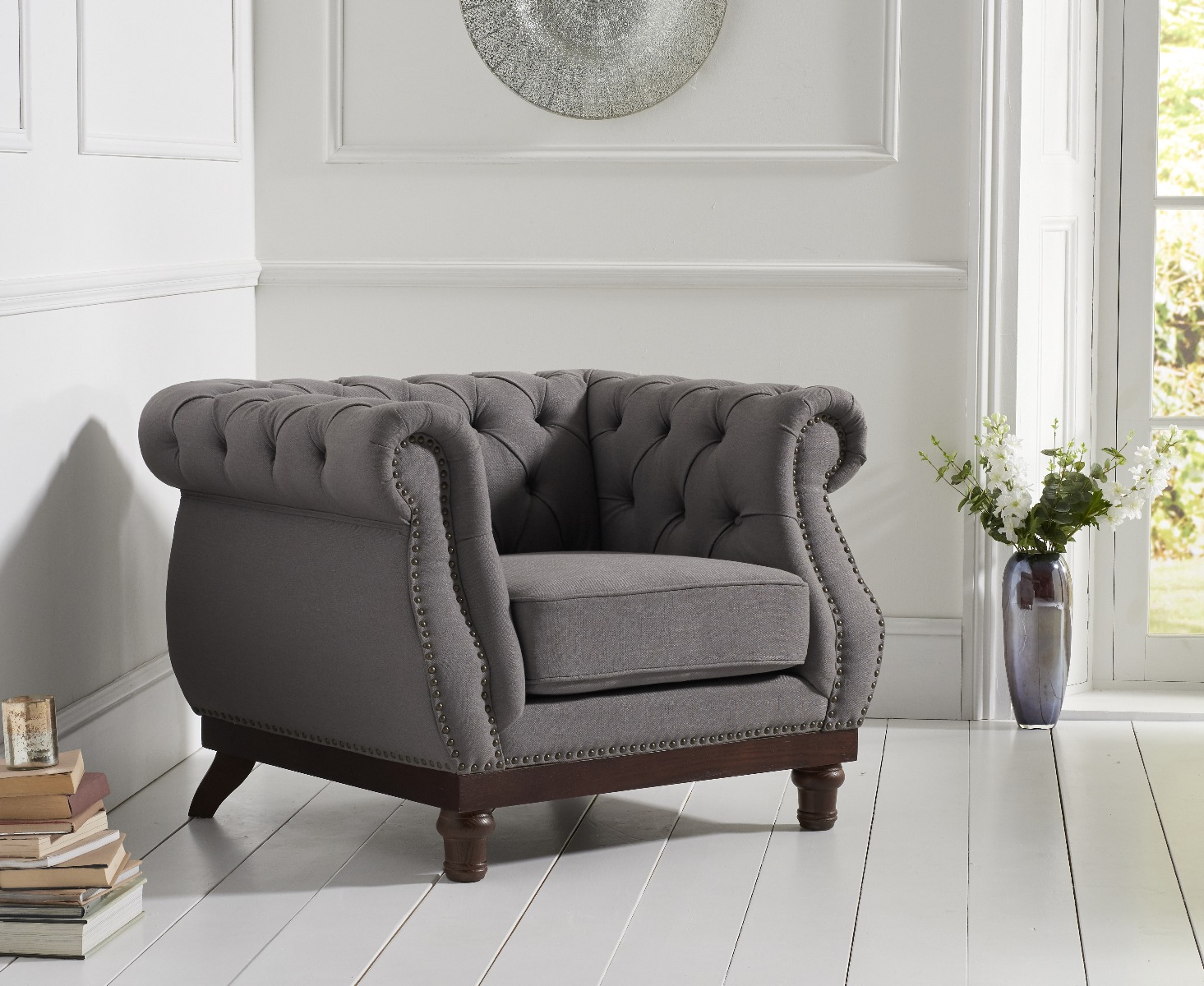 Product photograph showing Henbury Chesterfield Grey Linen Fabric Armchair