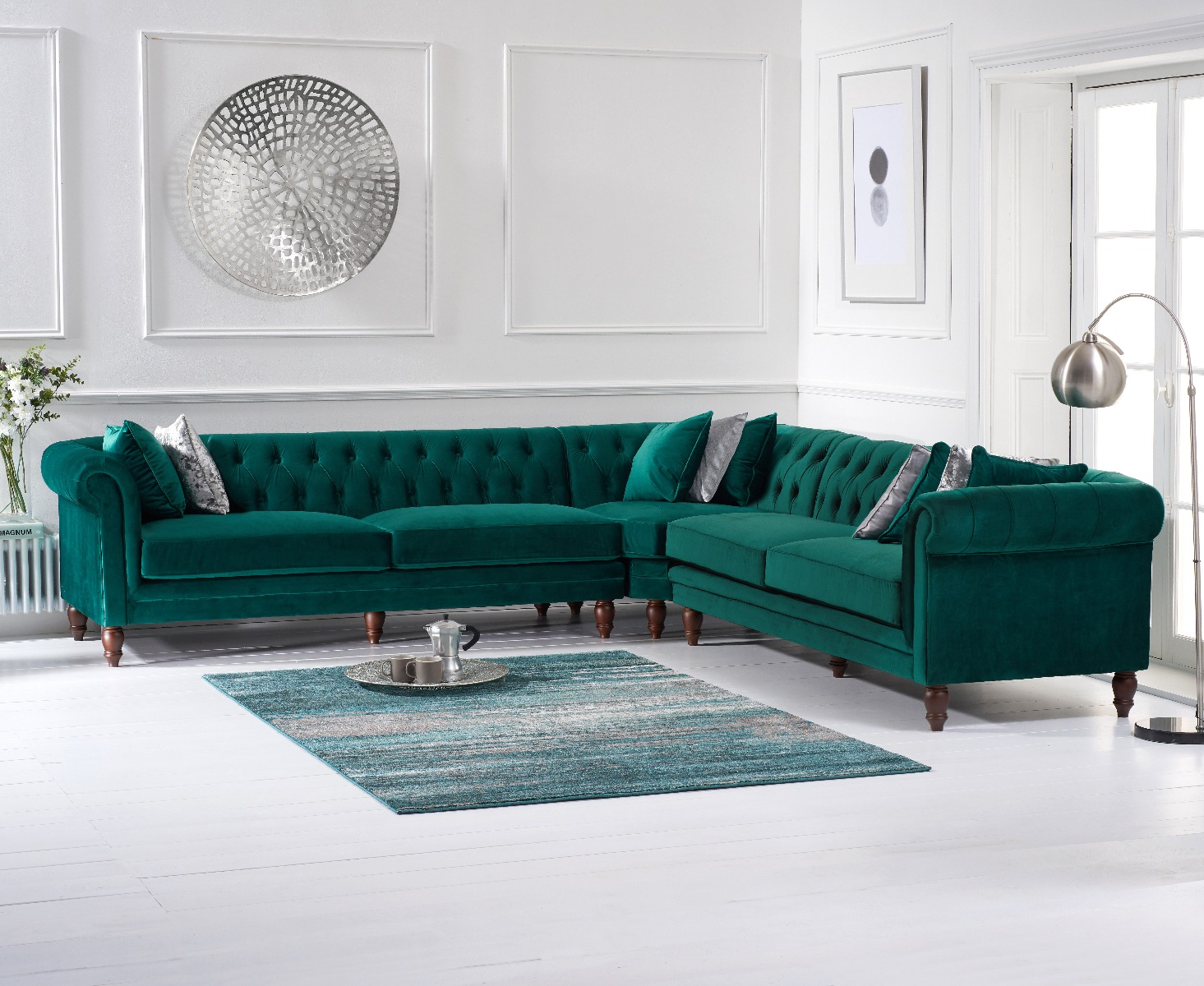 Product photograph showing Limoges Green Velvet Corner Sofa