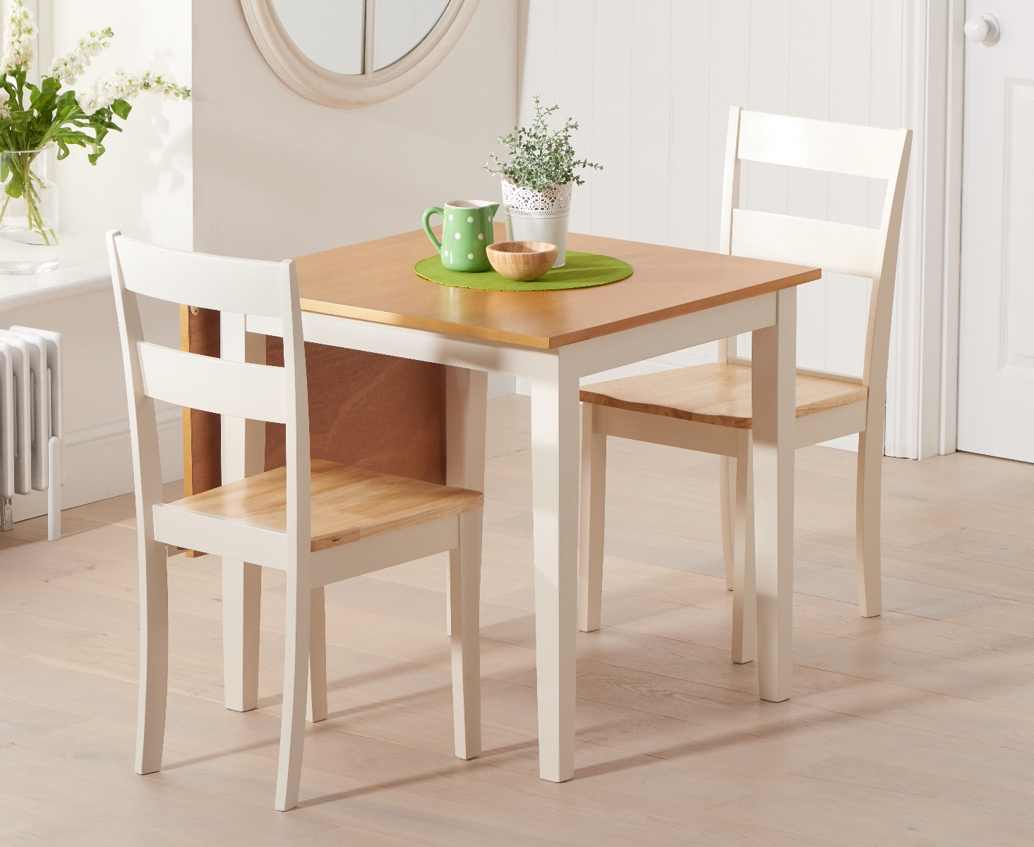 Product photograph showing Manhattan 75cm Extending Cream And Oak Table With Chiltern Chairs - Cream 2 Chairs