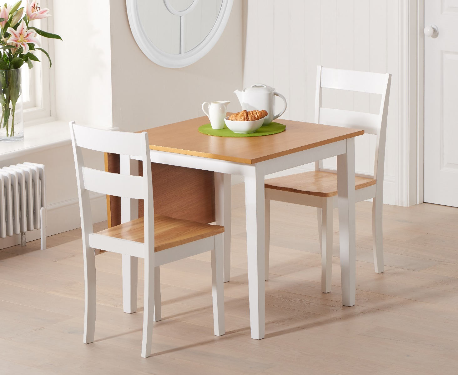 Product photograph showing Manhattan 75cm Extending White And Oak Table With Chiltern Chairs - Oak And White 2 Chairs