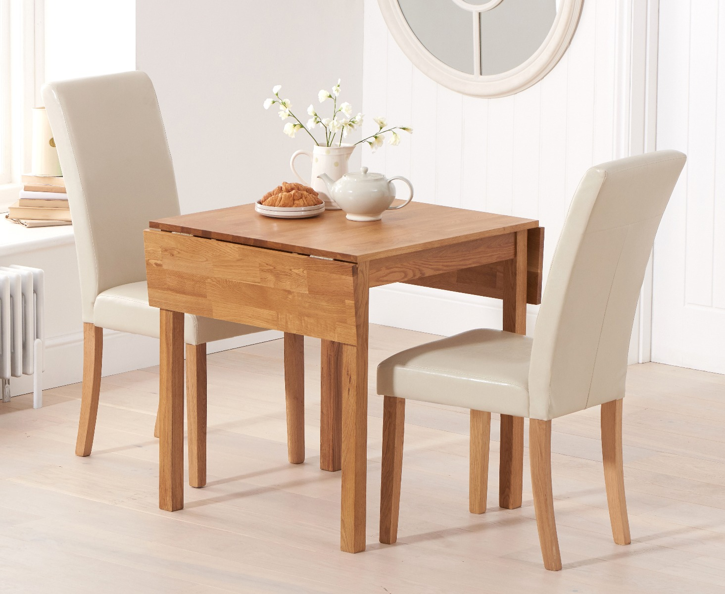 An image of Oxford 70cm Solid Oak Extending Dining Table with Albany Cream Chairs
