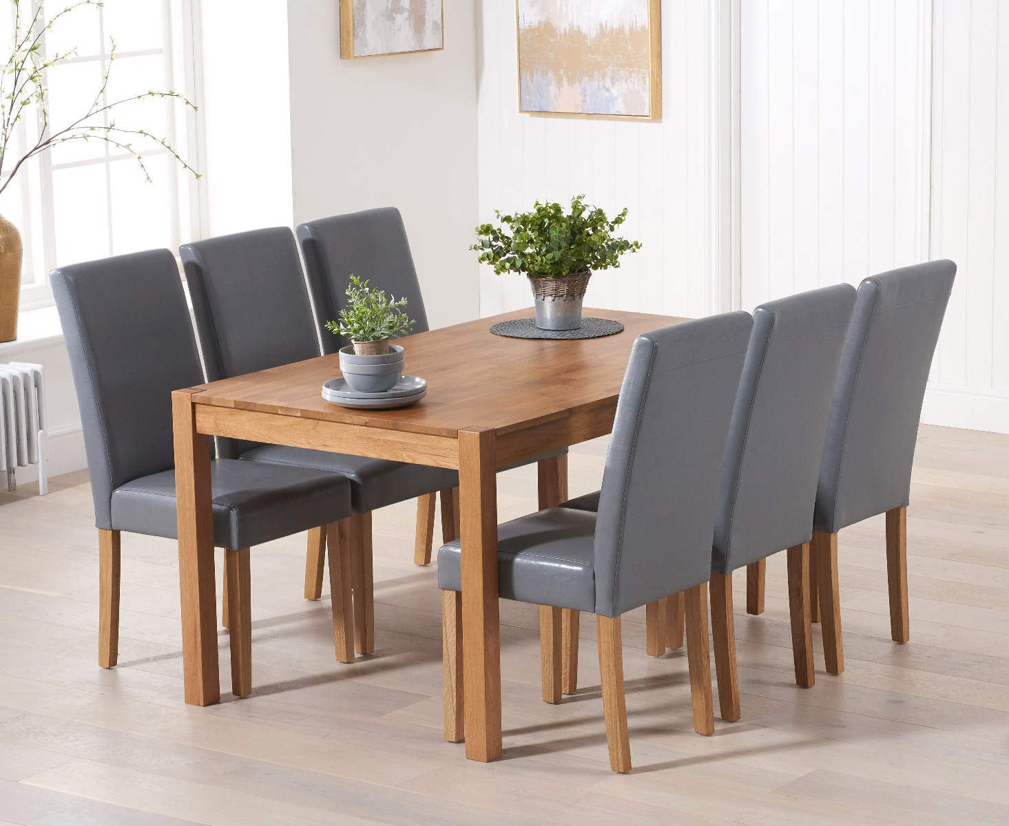 Product photograph showing Oxford 150cm Solid Oak Dining Table With Grey Albany Chairs