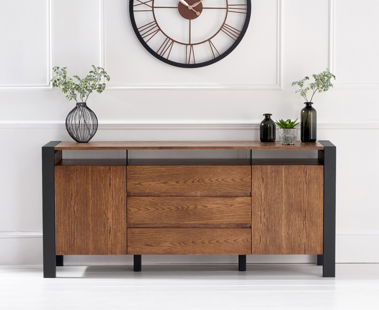 Chateau 180cm Solid Oak and Black Leg Metal Sideboard