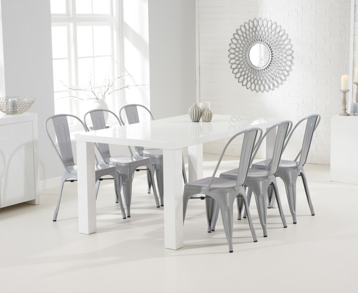 Product photograph showing Atlanta 160cm White High Gloss Dining Table With Tolix Industrial Style Dining Chairs - Grey 4 Chairs