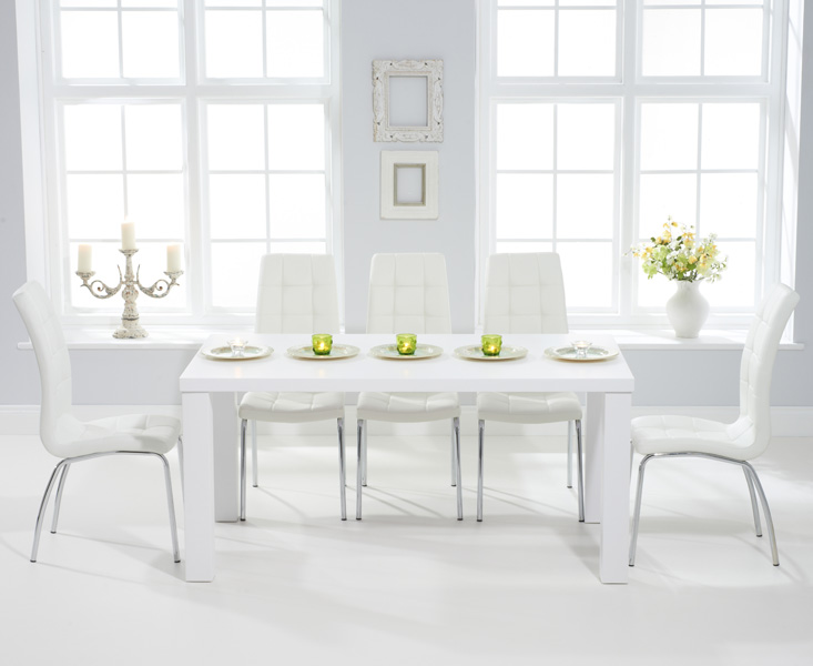 An image of Athens 160cm Matt White Dining Table with 4 Calgary Chairs