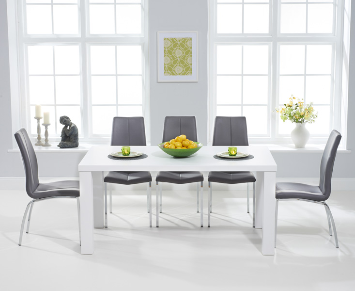 An image of Athens 160cm Matt White Dining Table with Cavello Chairs - Ivory, 4 Chairs