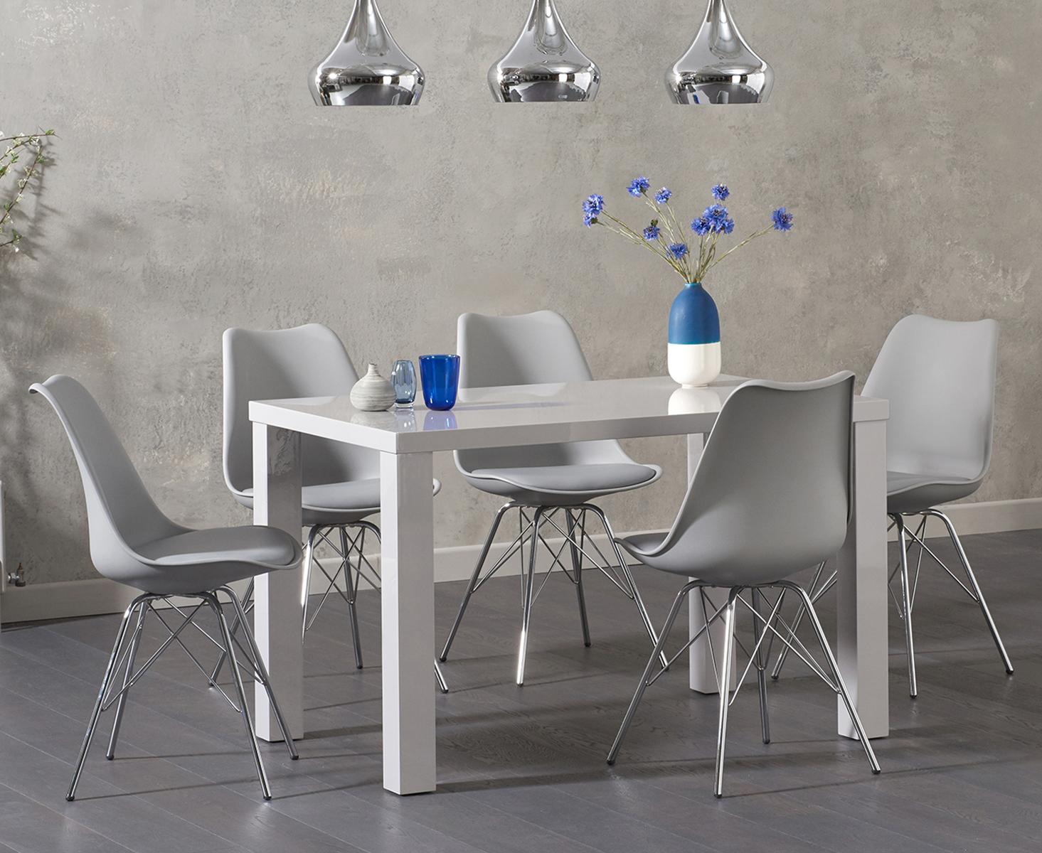 An image of Atlanta 120cm Light Grey High Gloss Dining Table with Celine Chrome Leg Chairs