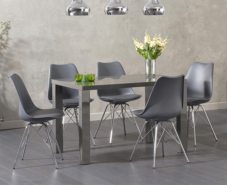 An image of Atlanta 120cm Dark Grey High Gloss Dining Table with Celine Chrome Leg Chairs - ...