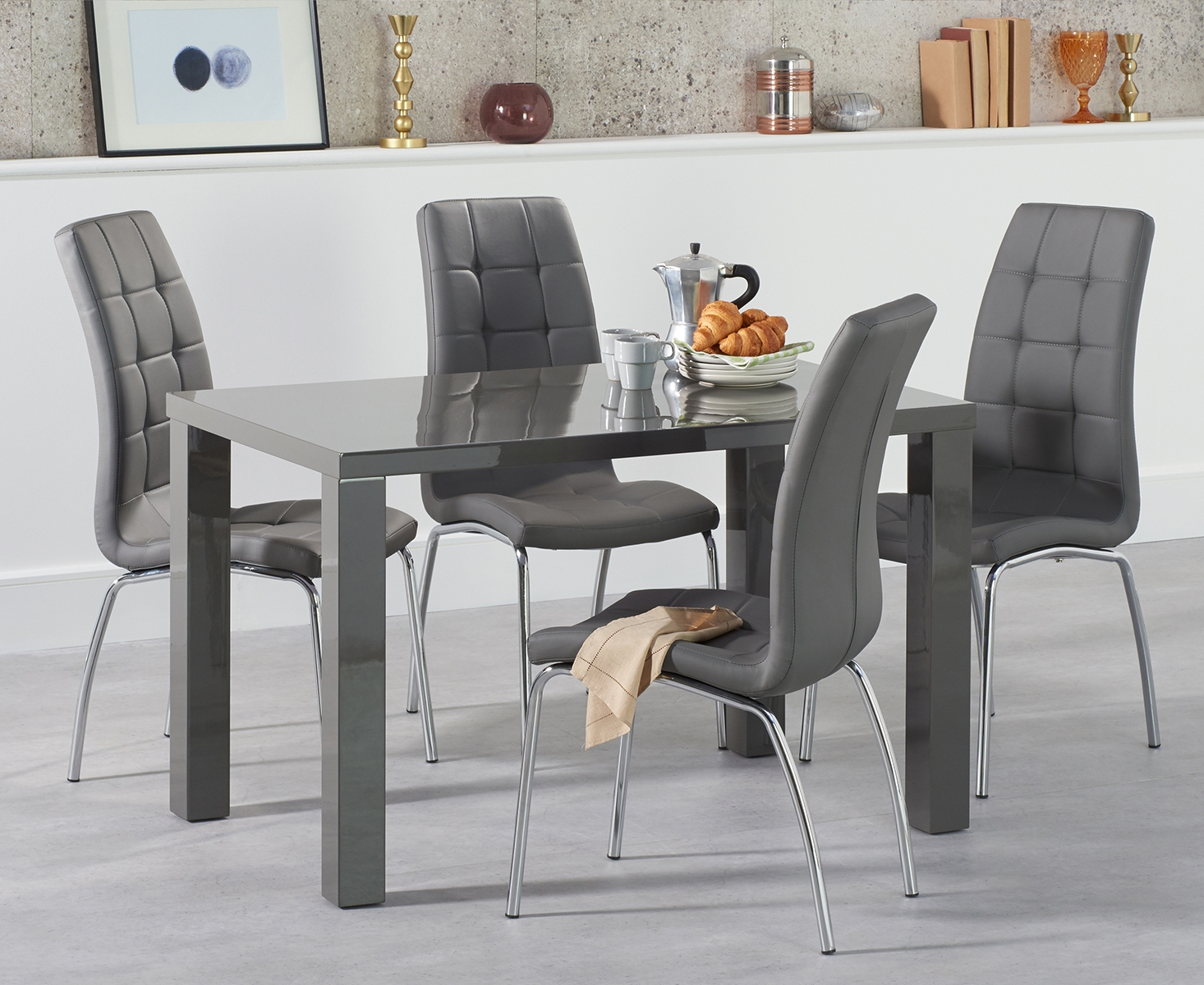 Product photograph showing Atlanta 120cm Dark Grey High Gloss Dining Table With Calgary Chairs - Red 4 Chairs