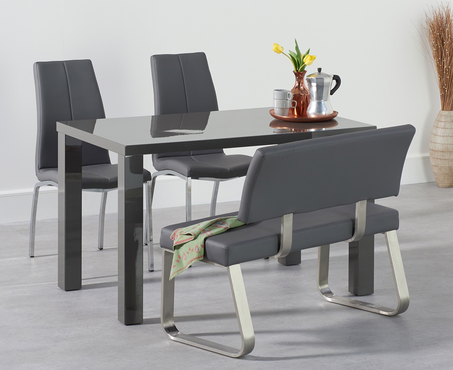 An image of Atlanta 120cm Dark Grey High Gloss Dining Table with Cavello Chairs and Malaga G...