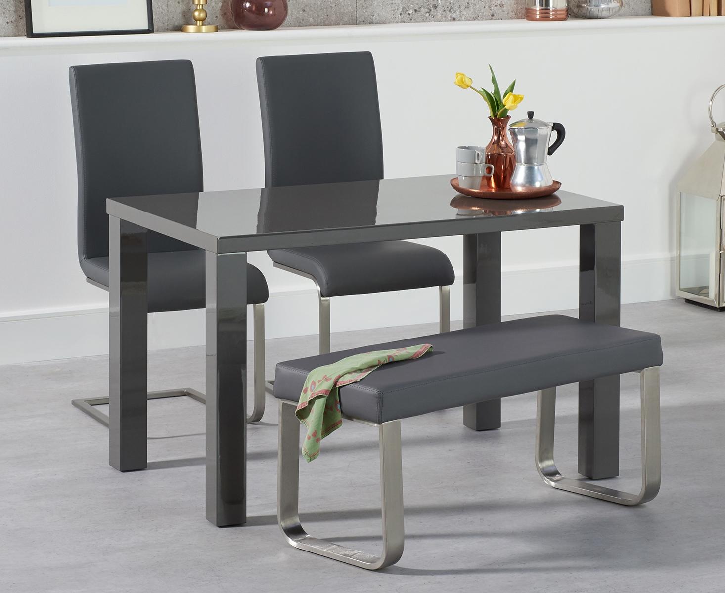 An image of Atlanta 120cm Dark Grey High Gloss Dining Table with Malaga Chairs and Atlanta G...