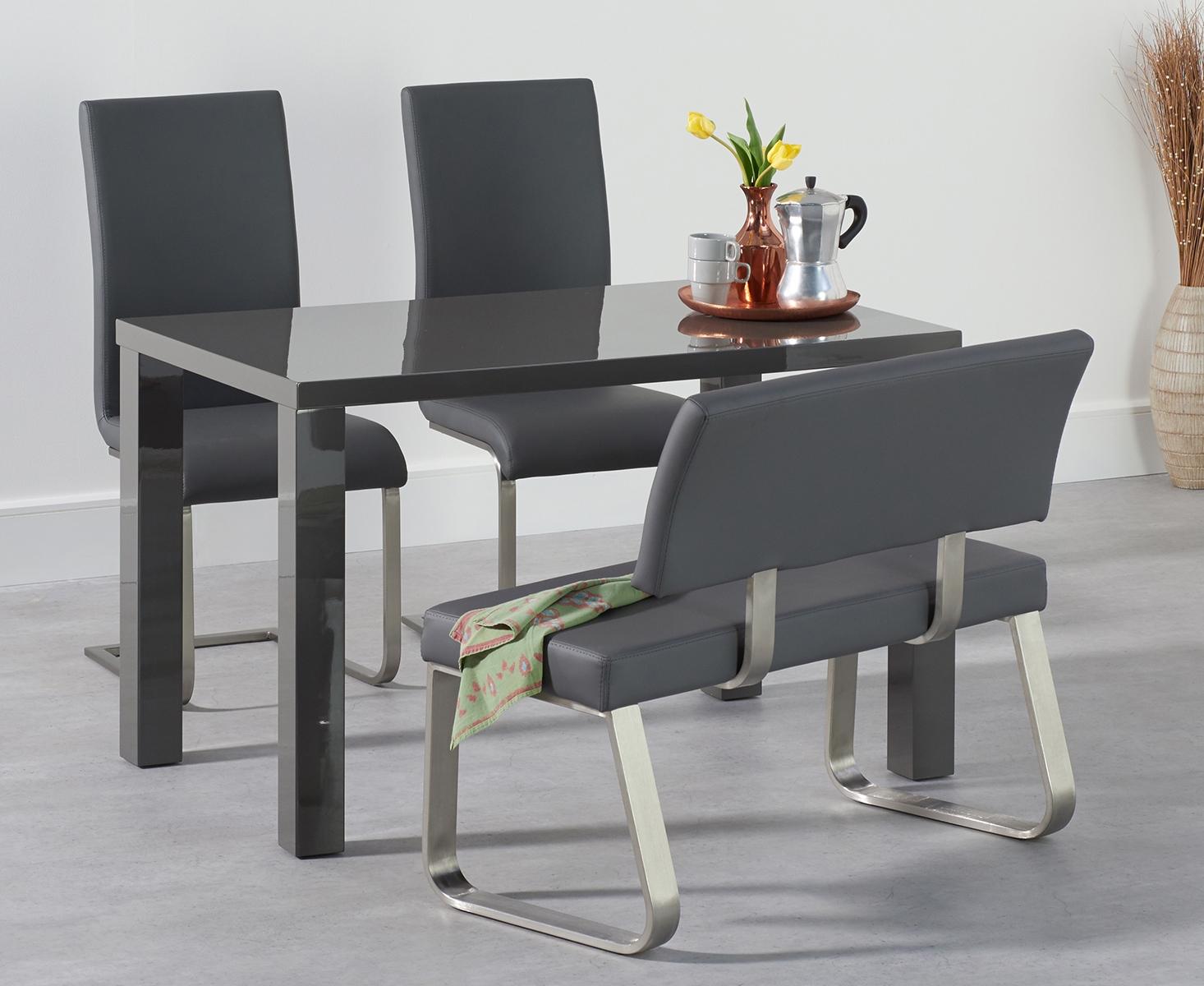 An image of Atlanta 120cm Dark Grey High Gloss Dining Table with Malaga Chairs and Malaga Gr...