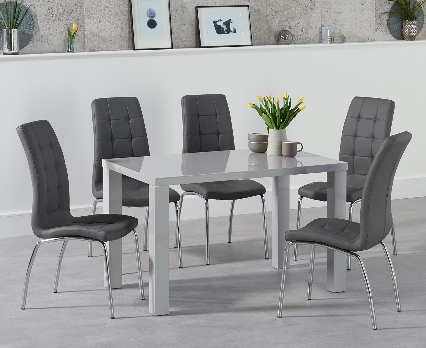 An image of Atlanta 120cm Light Grey Gloss Dining Table with Calgary Chairs