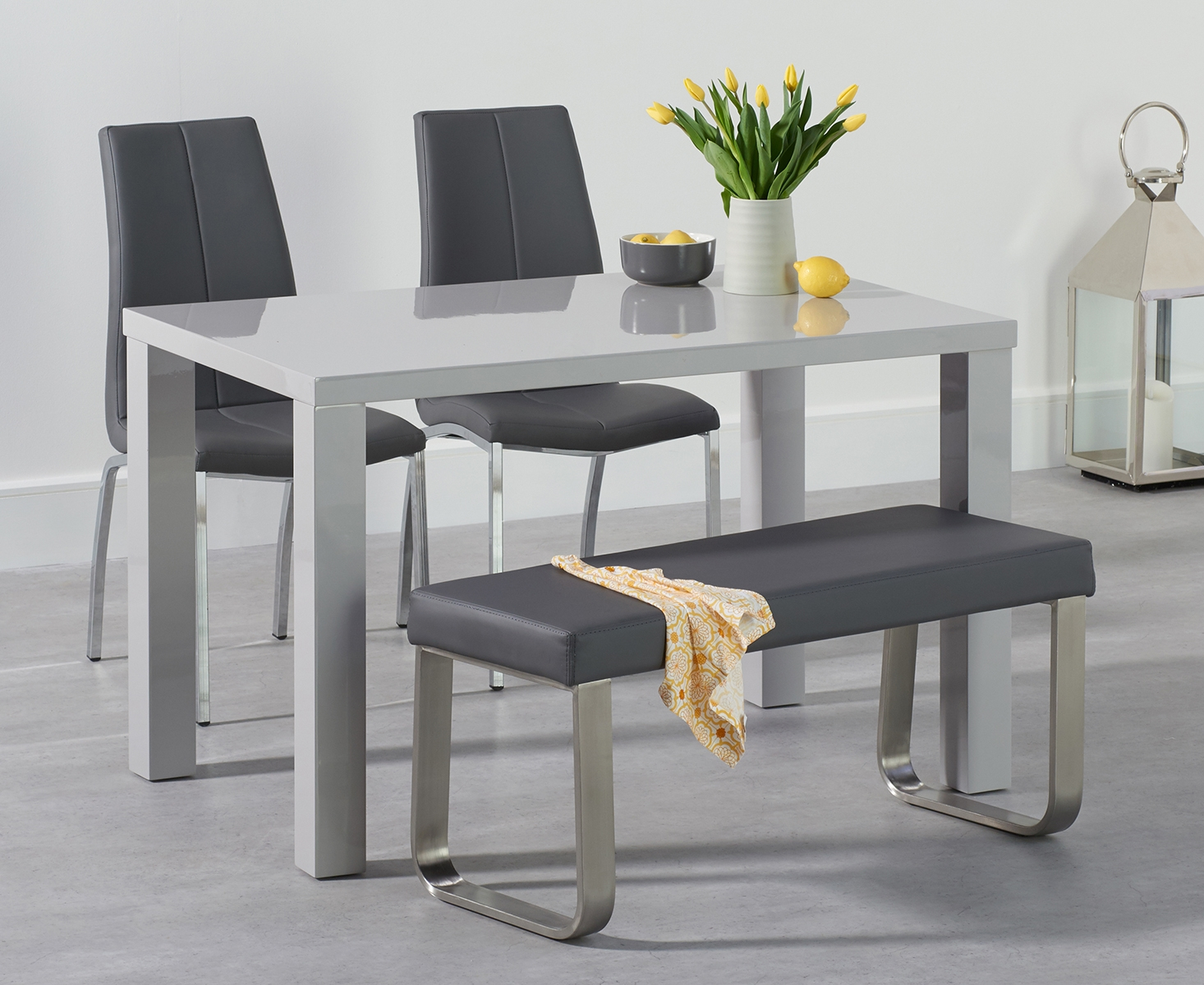 An image of Atlanta 120cm Light Grey High Gloss Dining Table with Cavello Chairs and Atlanta...