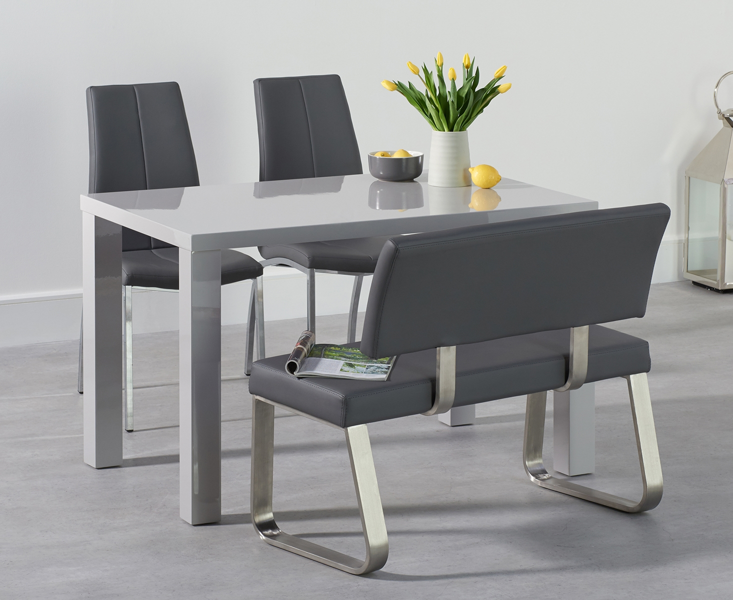 An image of Atlanta 120cm Light Grey High Gloss Dining Table with Cavello Chairs and Malaga ...