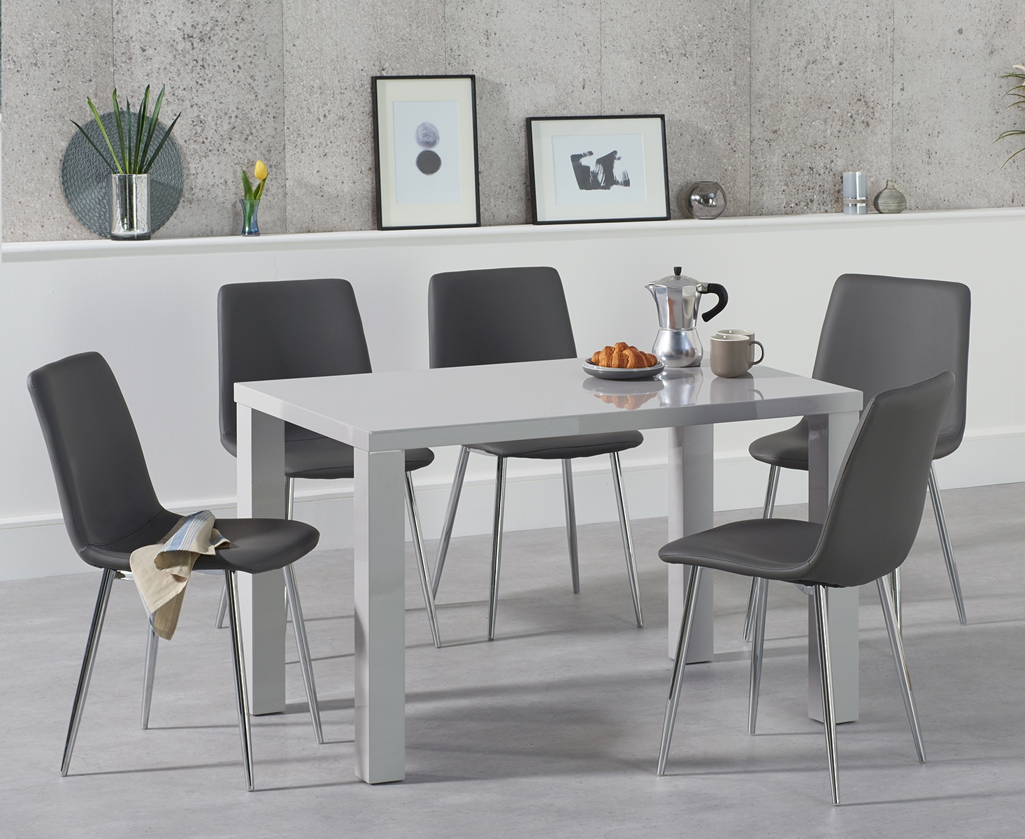 An image of Atlanta 120cm Light Grey High Gloss Dining Table with Helsinki Faux Leather Chai...