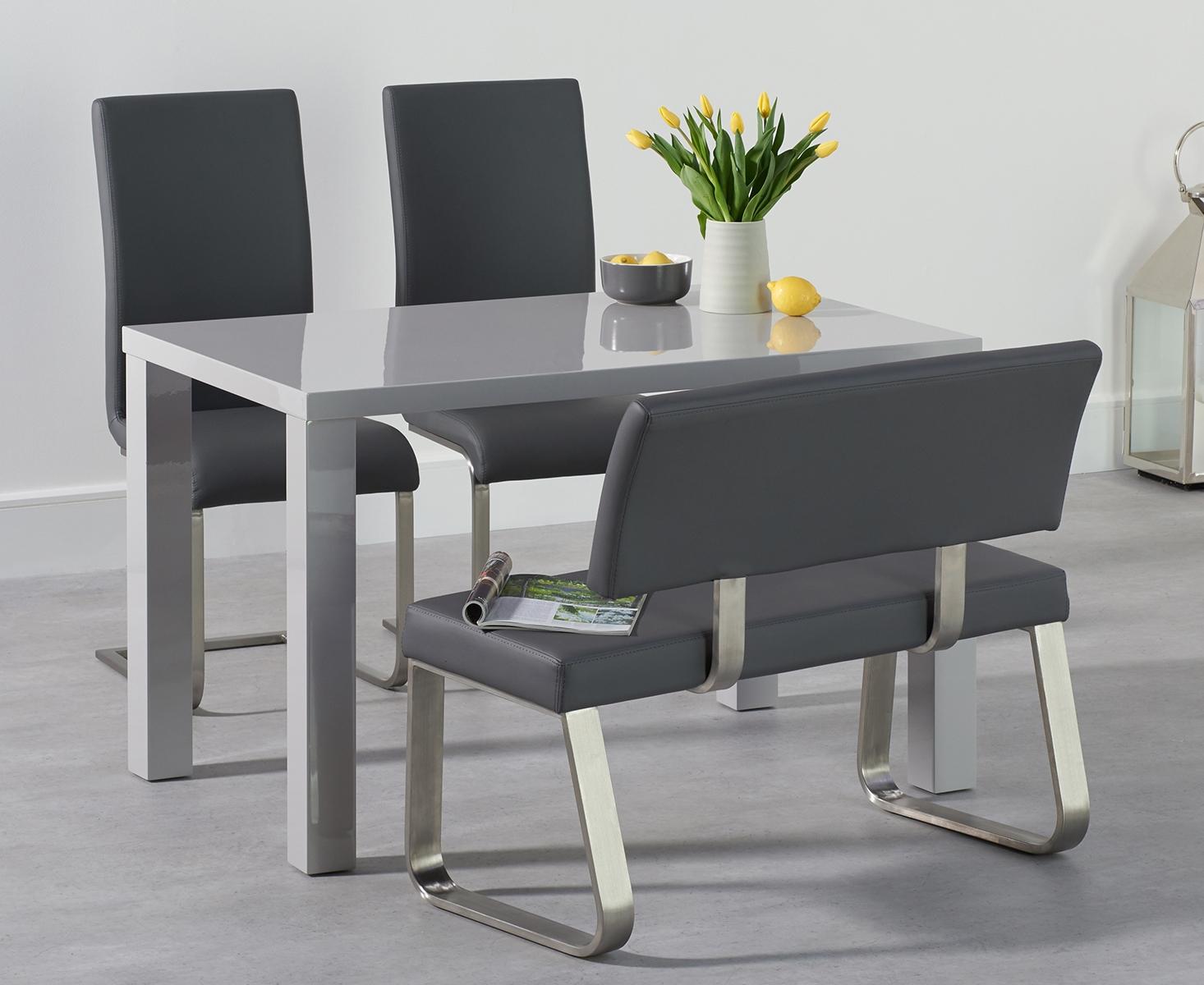 An image of Atlanta 120cm Light Grey High Gloss Dining Table with Malaga Chairs and Malaga G...