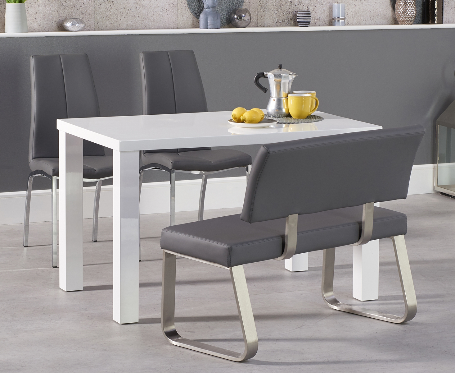 An image of Atlanta 120cm White High Gloss Dining Table with Cavello Chairs and Malaga Grey ...