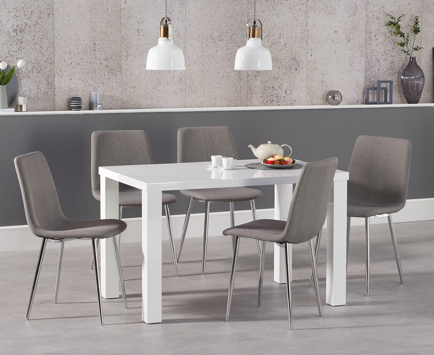 An image of Atlanta 120cm White High Gloss Dining Table with Helsinki Fabric Chrome Chairs -...