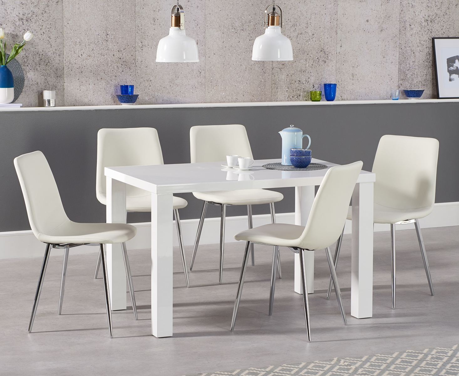 An image of Atlanta 120cm White High Gloss Dining Table with Helsinki Faux Leather Chairs