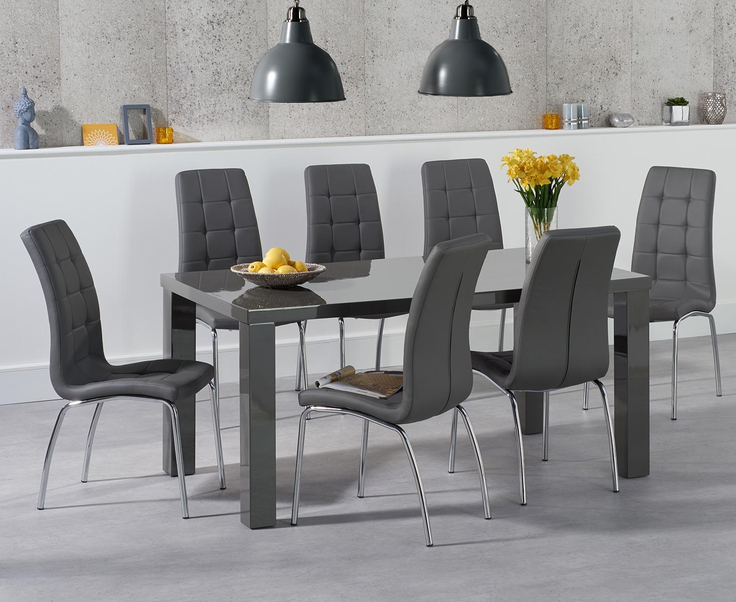 An image of Atlanta 160cm Dark Grey High Gloss Dining Table with Calgary Chairs