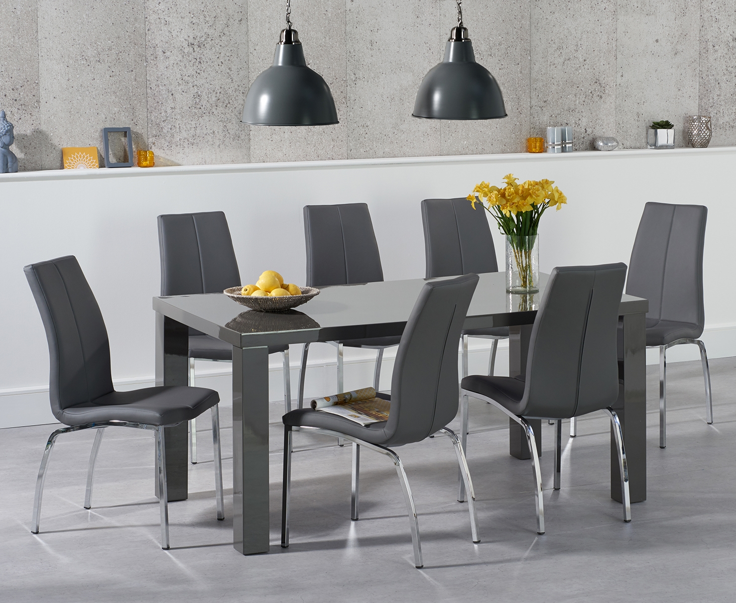 An image of Atlanta 160cm Dark Grey High Gloss Dining Table with Cavello Chairs
