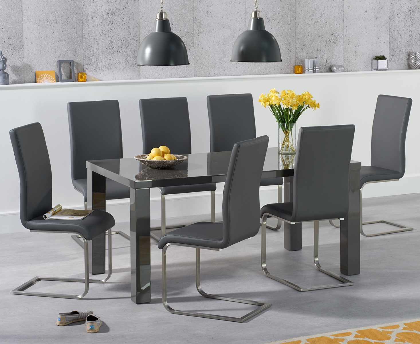 An image of Atlanta 160cm Dark Grey High Gloss Dining Table with Malaga Chairs