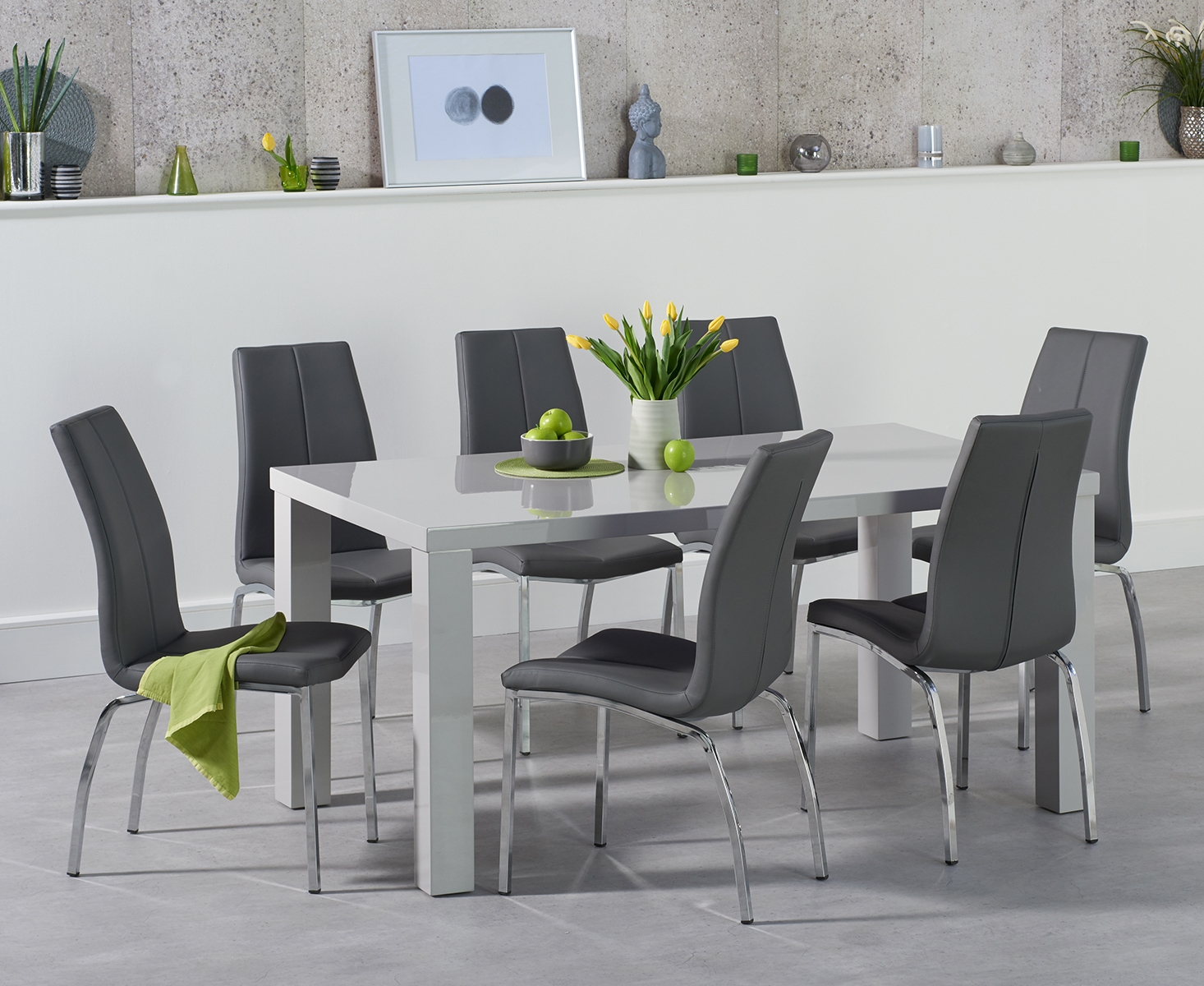 An image of Atlanta 160cm Light Grey Gloss Dining Table with Cavello Chairs