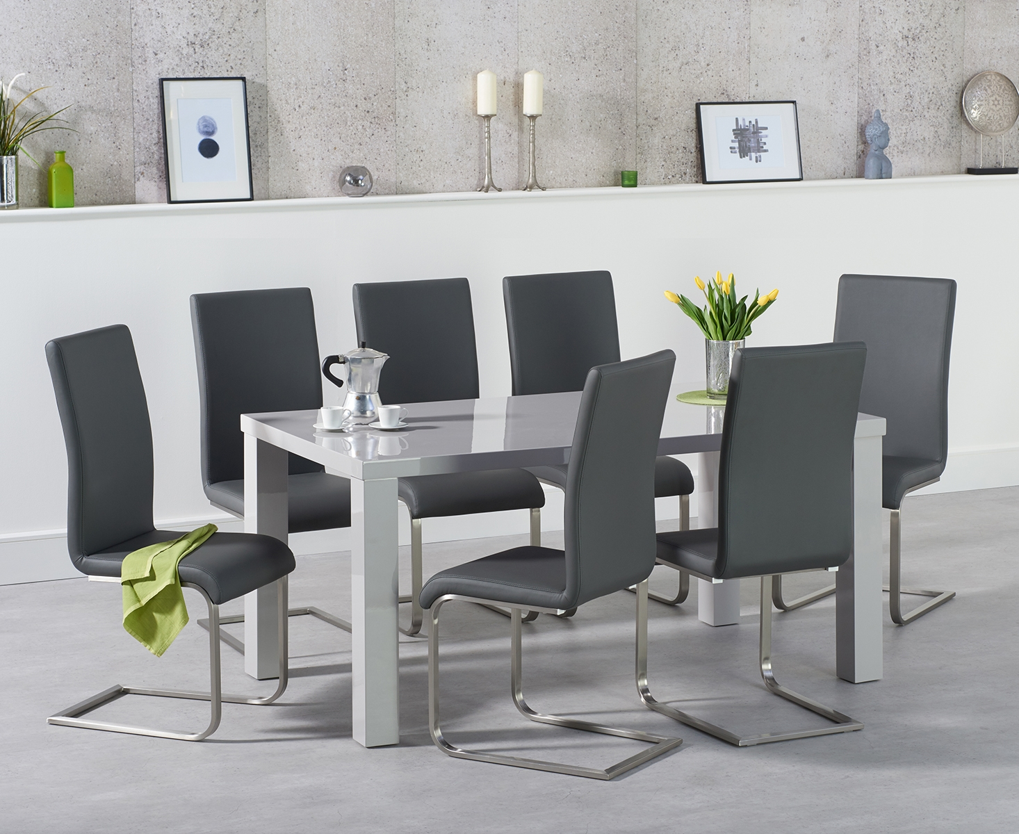 An image of Atlanta 160cm Light Grey High Gloss Dining Table with Malaga Chairs
