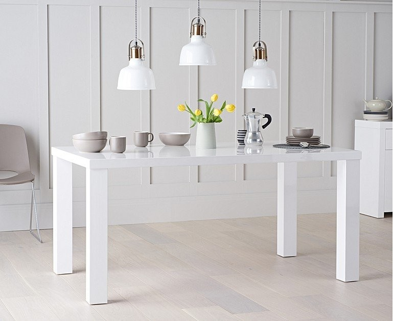Ex-display Atlanta 160cm White High Gloss Dining Table