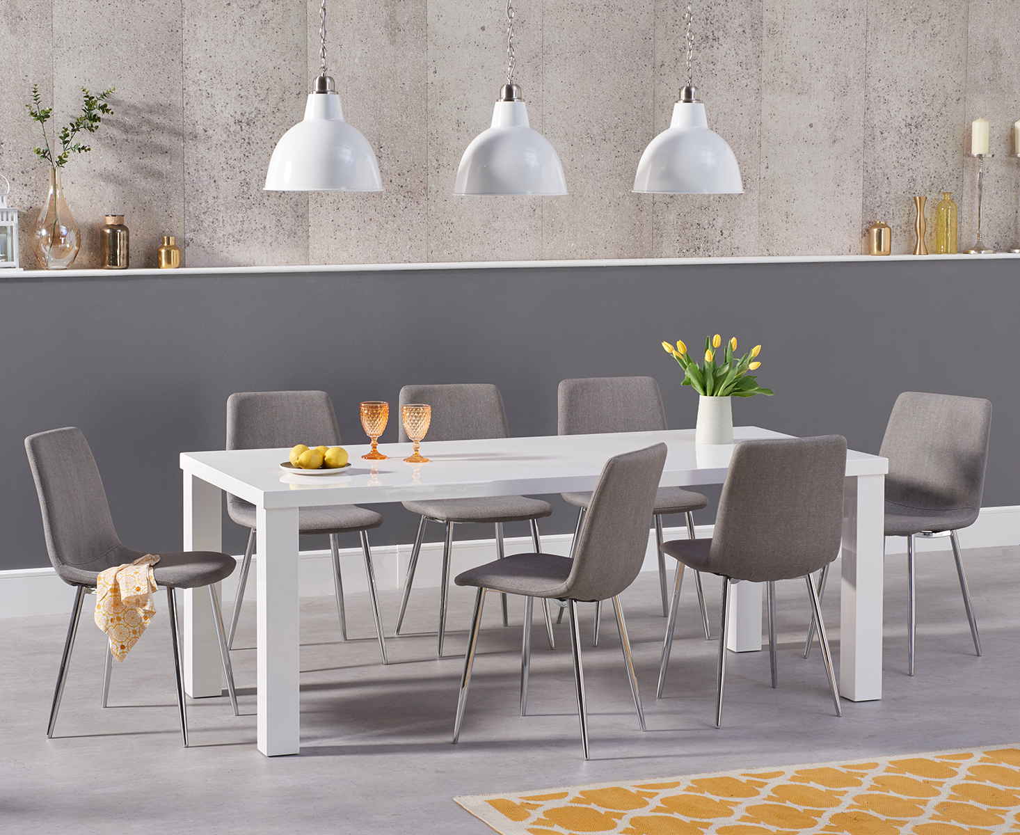 An image of Atlanta 160cm White High Gloss Dining Table with Helsinki Fabric Chrome Chairs -...