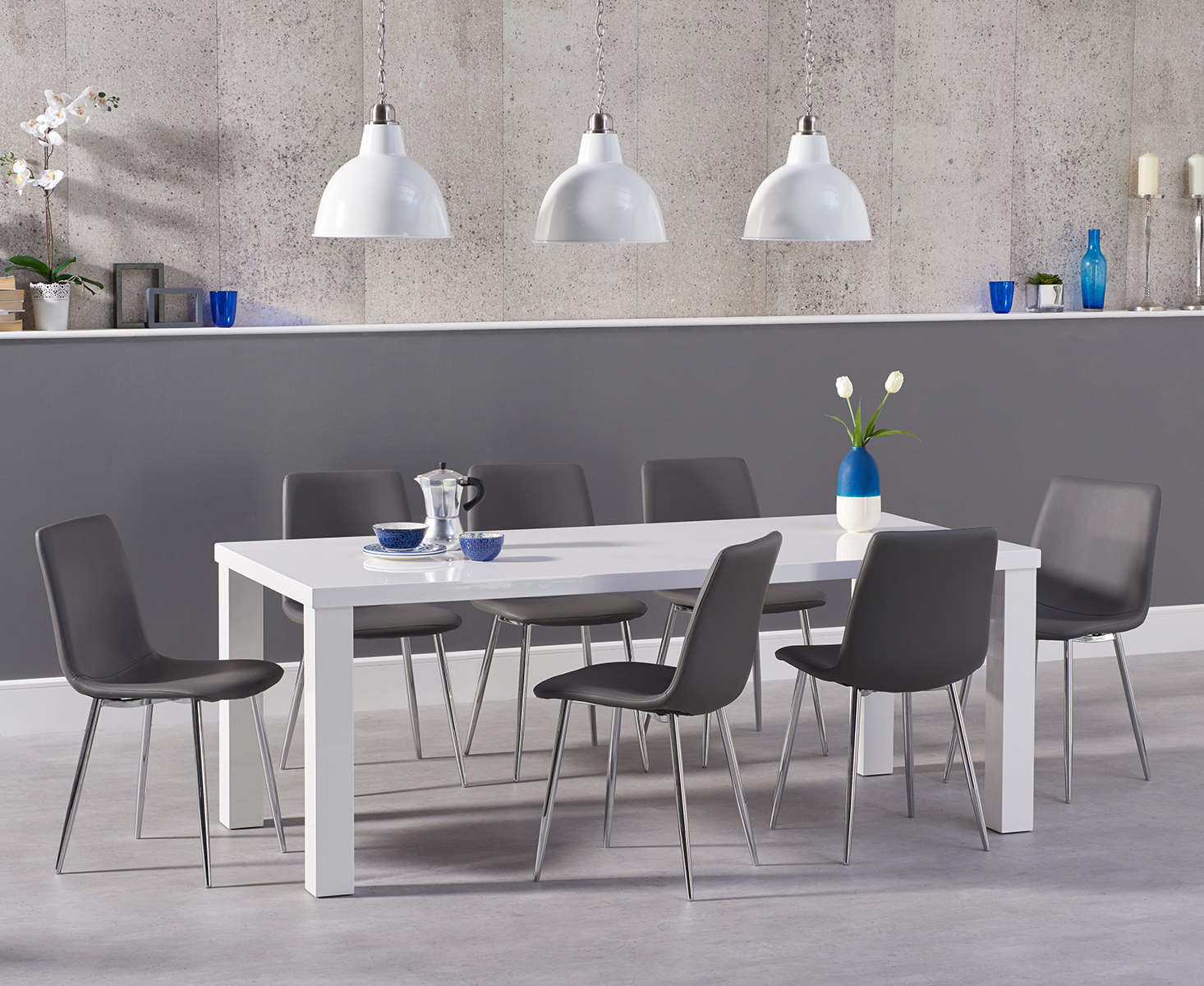 An image of Atlanta 160cm White High Gloss Dining Table with Helsinki Faux Leather Chairs