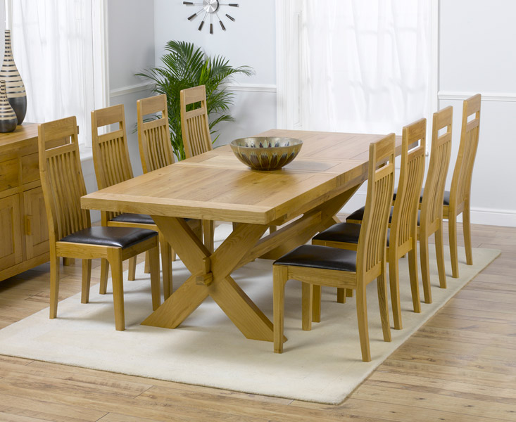 An image of Bordeaux 200cm Solid Oak Extending Dining Table with Monaco Chairs